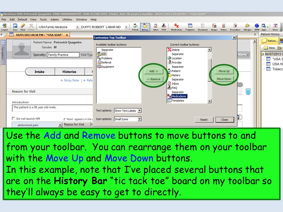 Use the Add and Remove buttons to move buttons to and from your toolbar. You can rearrange them on your toolbar with the Move Up and Move Down buttons.