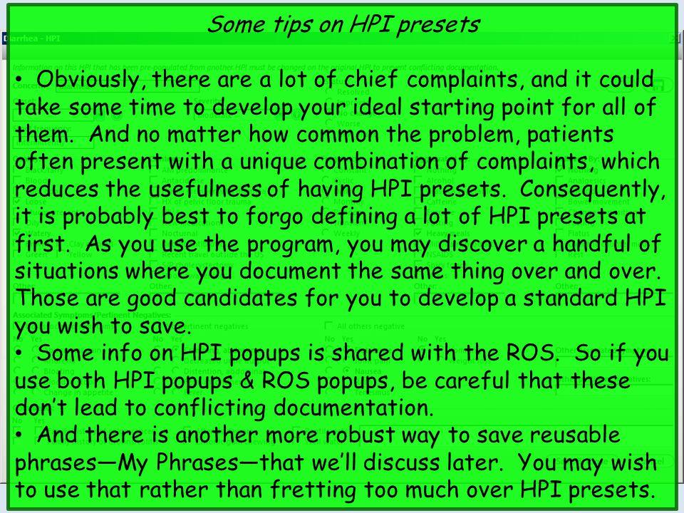 Some tips on HPI presets