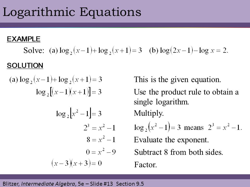 § 9.5 Exponential and Logarithmic Equations. - ppt video ...
