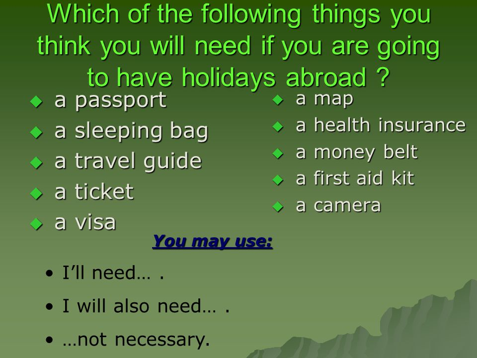 Which of the following things you think you will need if you are going to have holidays abroad