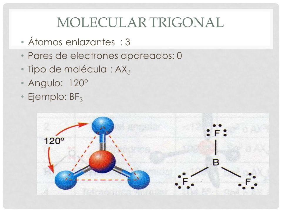 Molecular trigonal Átomos enlazantes : 3