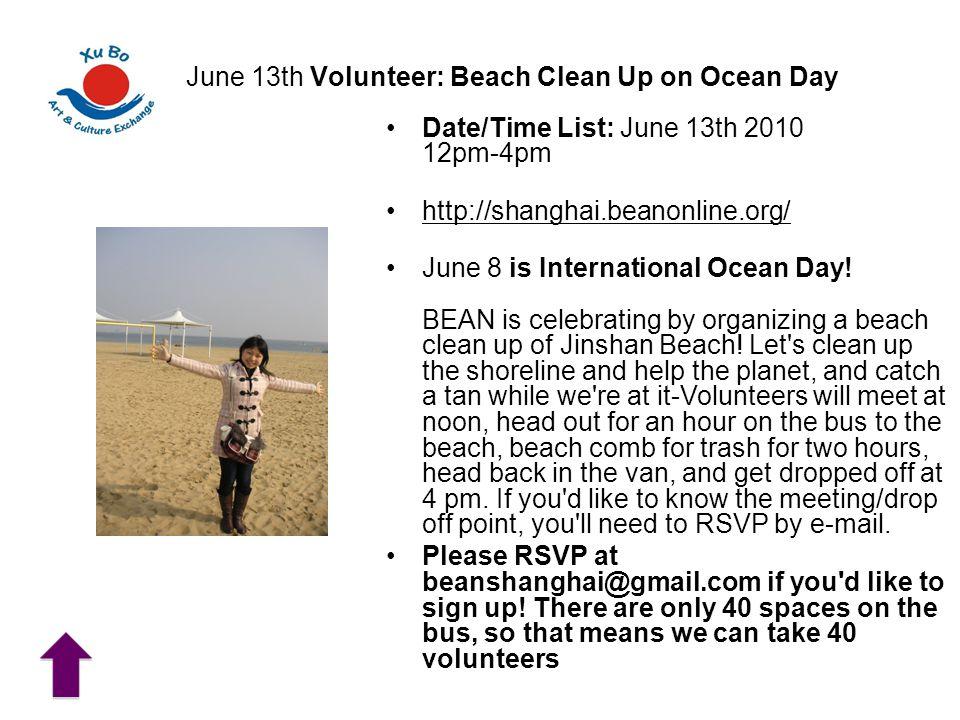 June 13th Volunteer: Beach Clean Up on Ocean Day