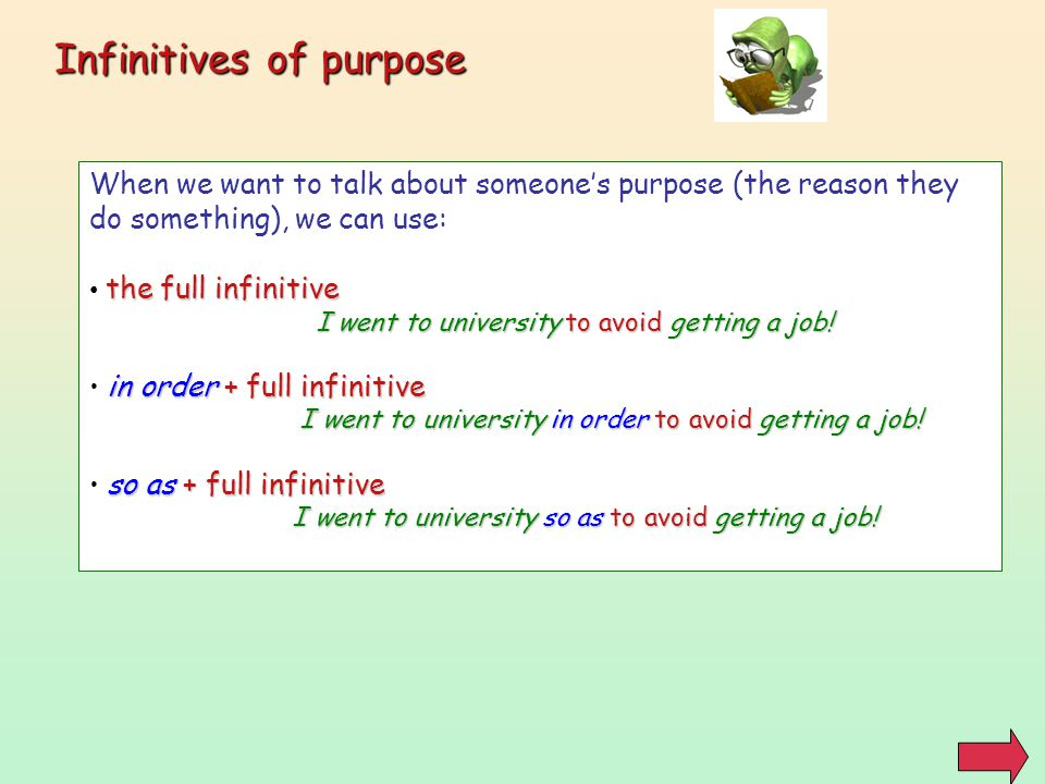 Infinitives of purpose