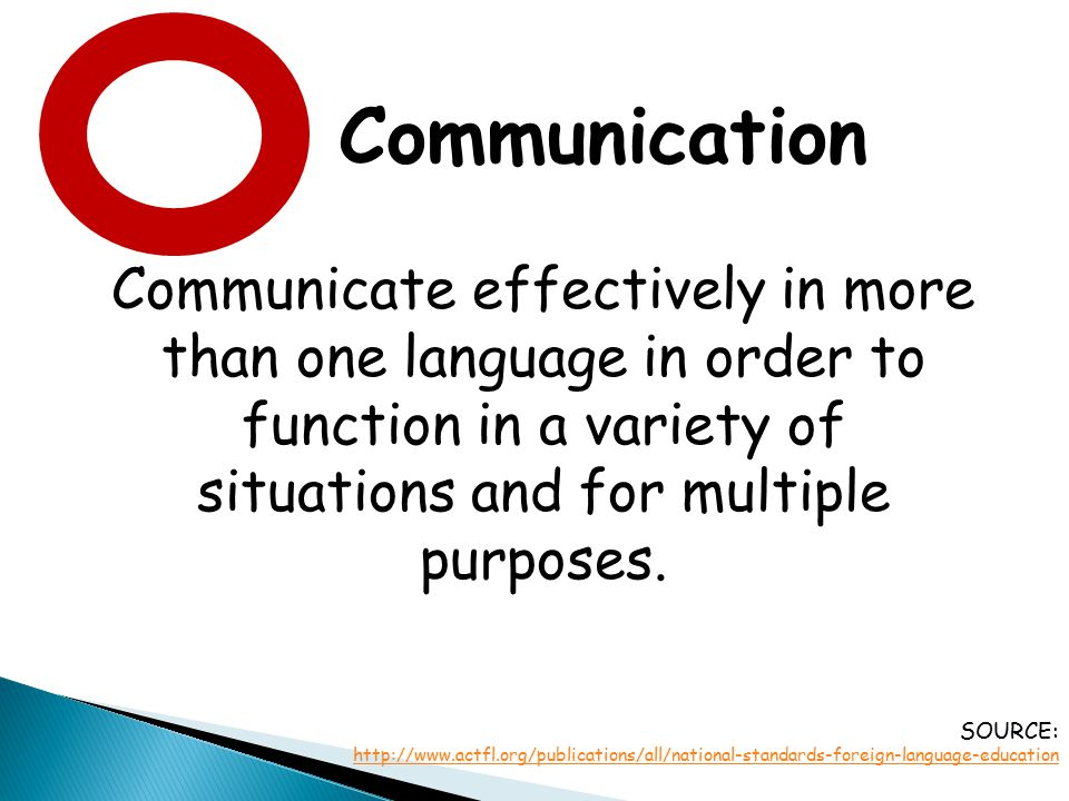 Communication Communicate effectively in more than one language in order to function in a variety of situations and for multiple purposes.