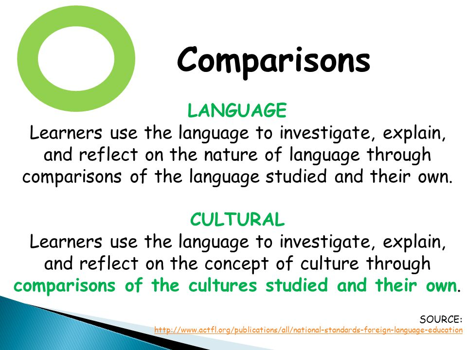 Comparisons LANGUAGE.