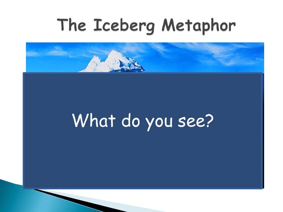 The Iceberg Metaphor What do you see and now