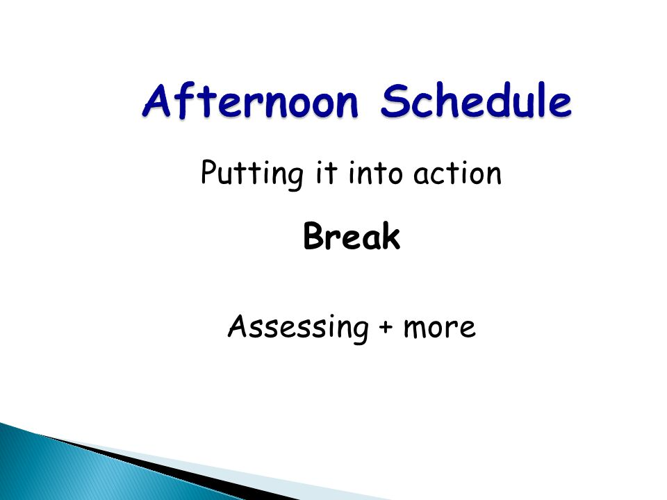 Afternoon Schedule Putting it into action Break Assessing + more