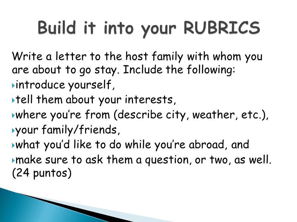 Build it into your RUBRICS