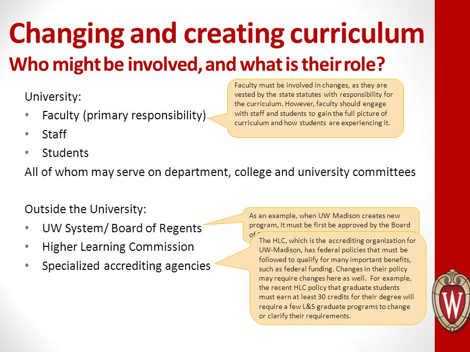 Changing and creating curriculum Who might be involved, and what is their role