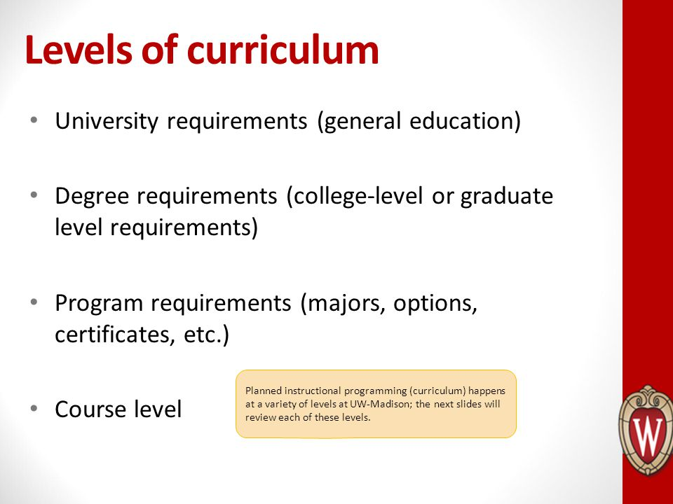 Levels of curriculum University requirements (general education)