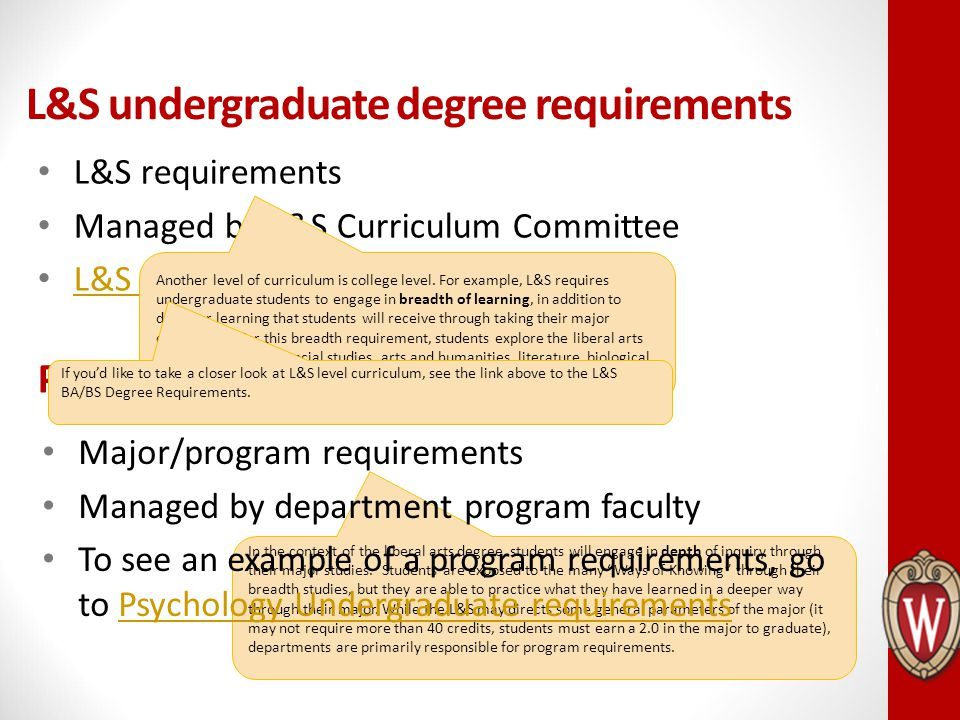 L&S undergraduate degree requirements