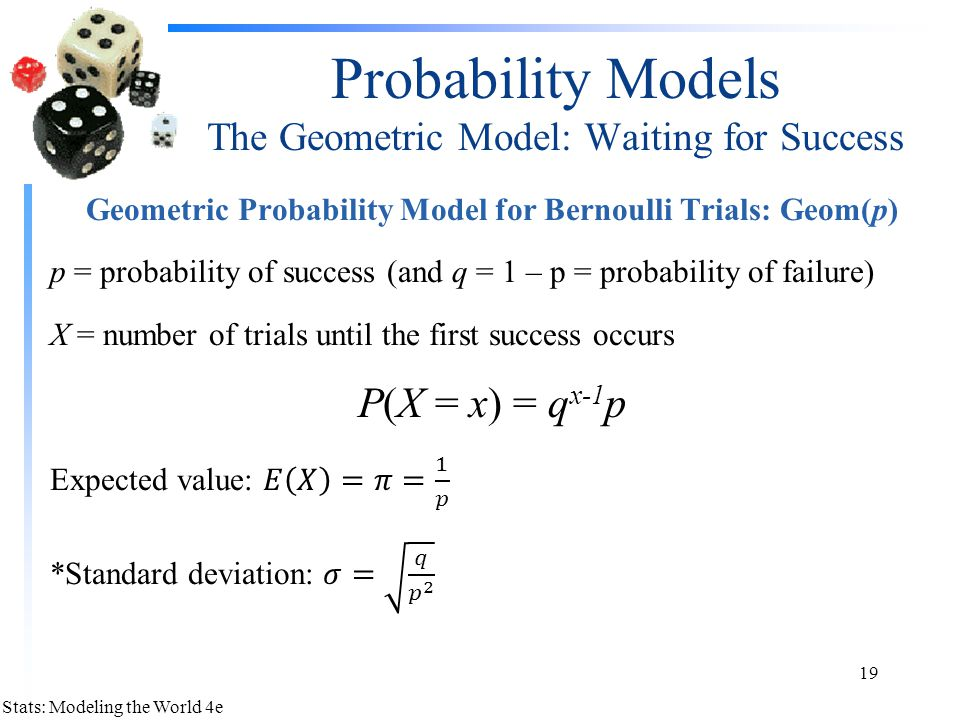 Probability Models The Geometric Model: Waiting for Success
