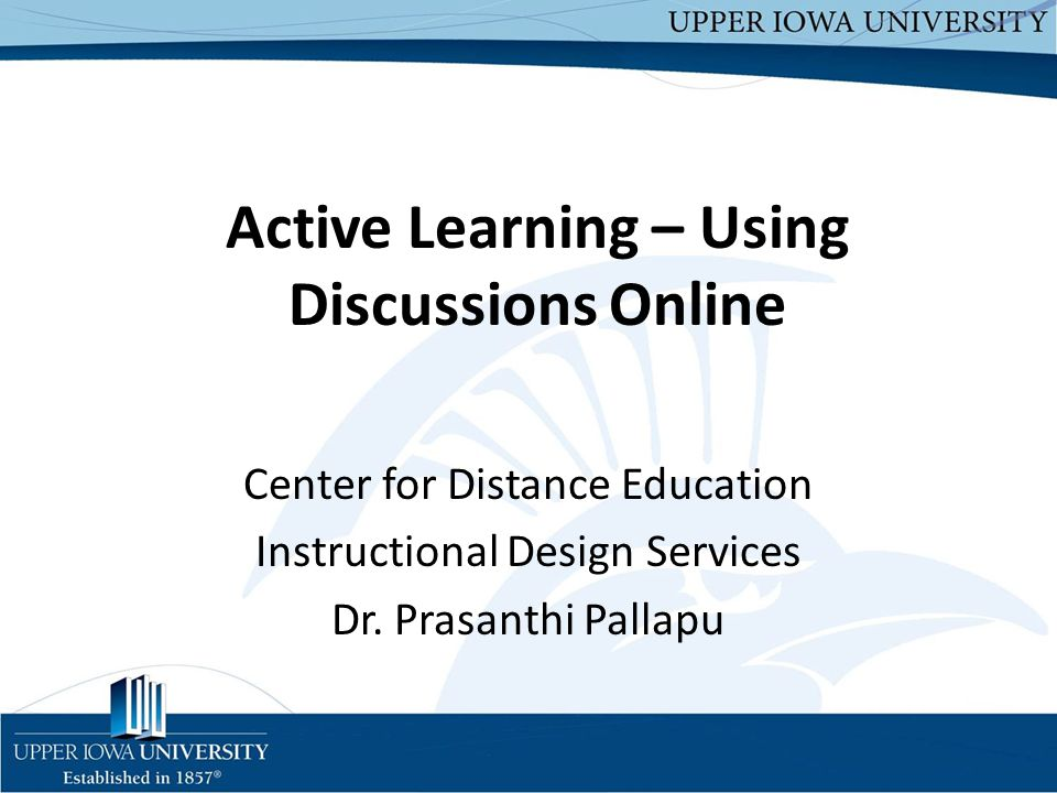 Active Learning – Using Discussions Online