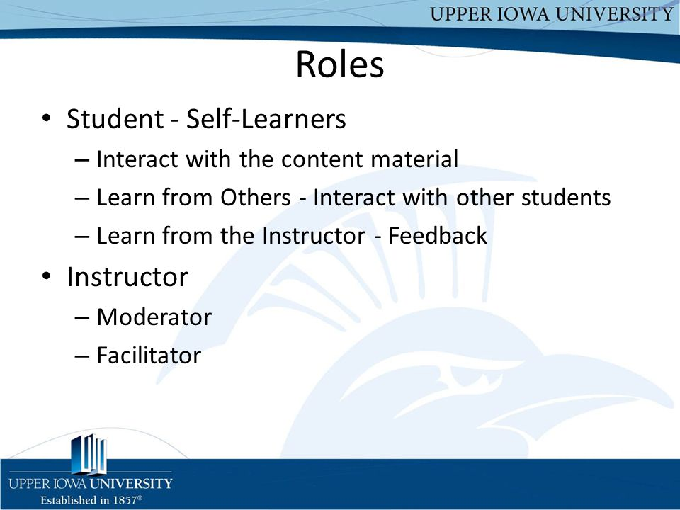 Roles Student - Self-Learners Instructor