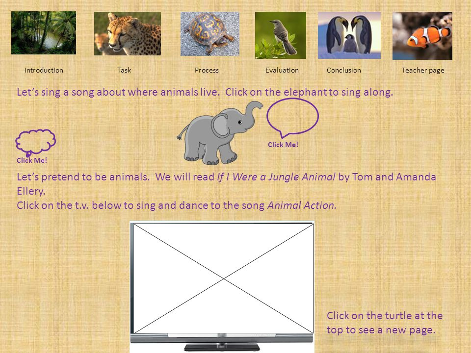 Click on the t.v. below to sing and dance to the song Animal Action.