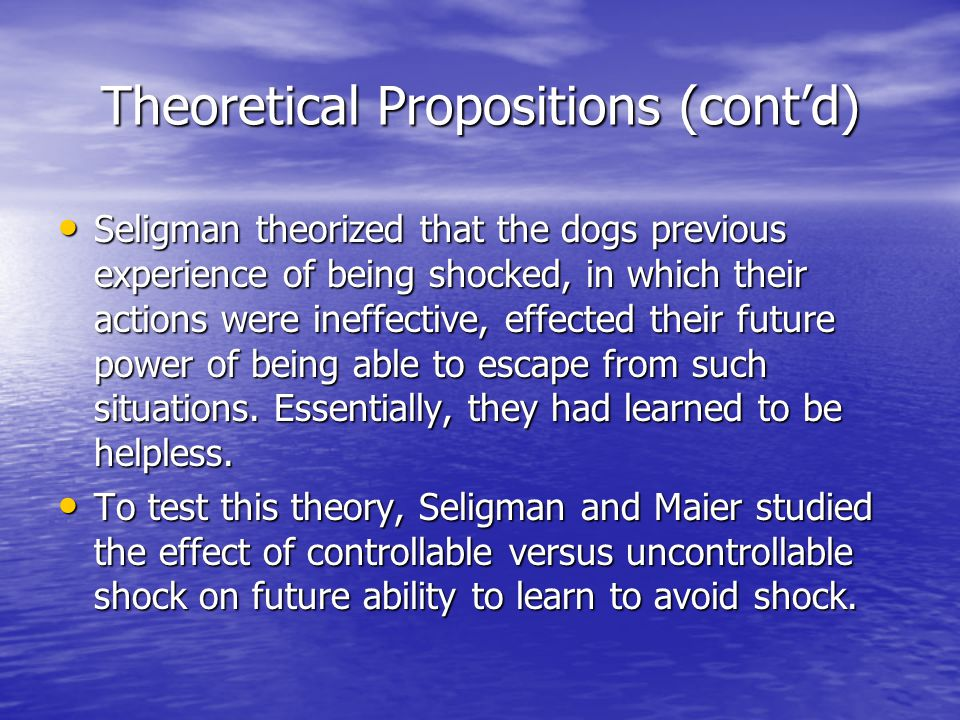 Theoretical Propositions (cont'd)