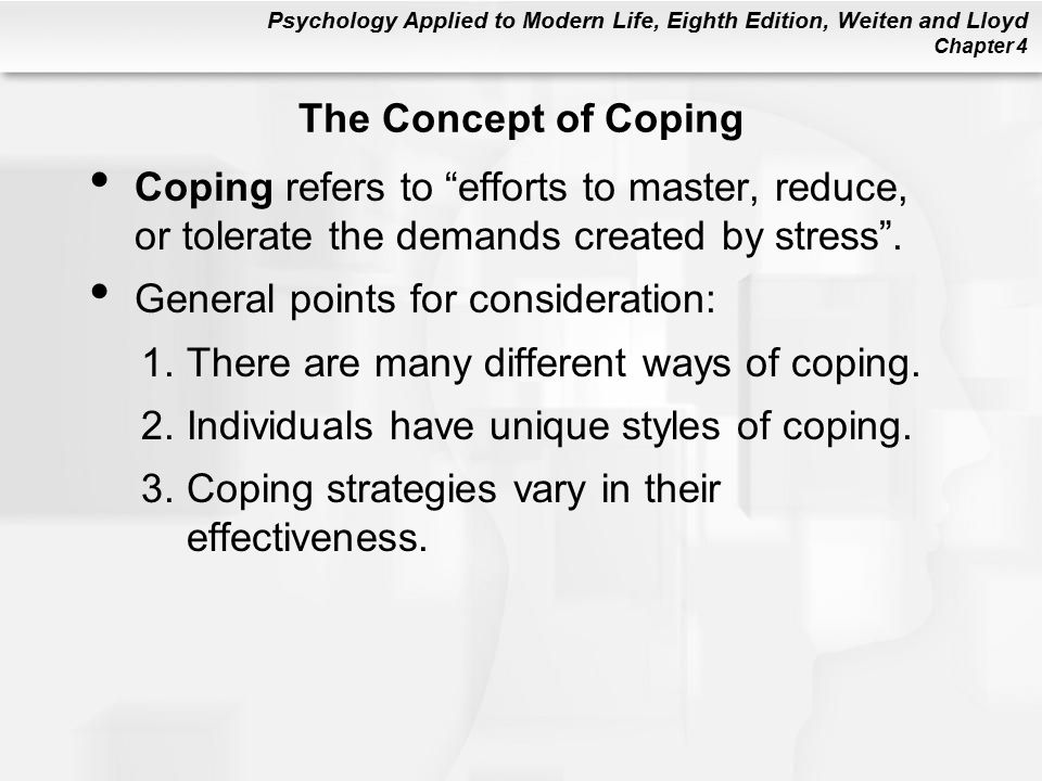 The Concept of Coping Coping refers to efforts to master, reduce, or tolerate the demands created by stress .