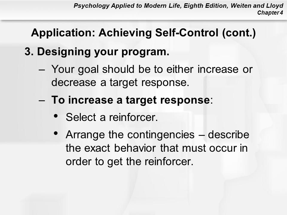 Application: Achieving Self-Control (cont.)