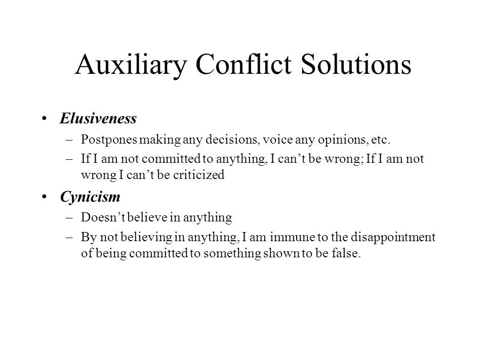 Auxiliary Conflict Solutions