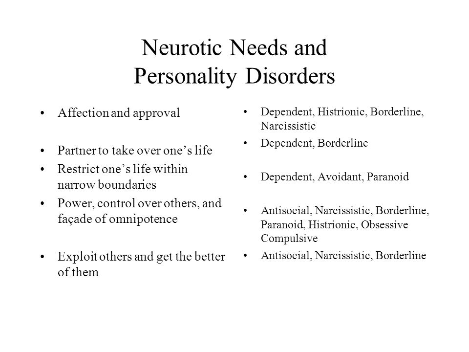 Neurotic Needs and Personality Disorders