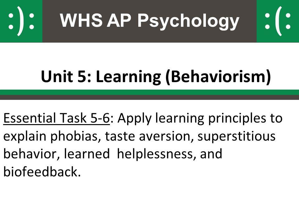Unit 5: Learning (Behaviorism)