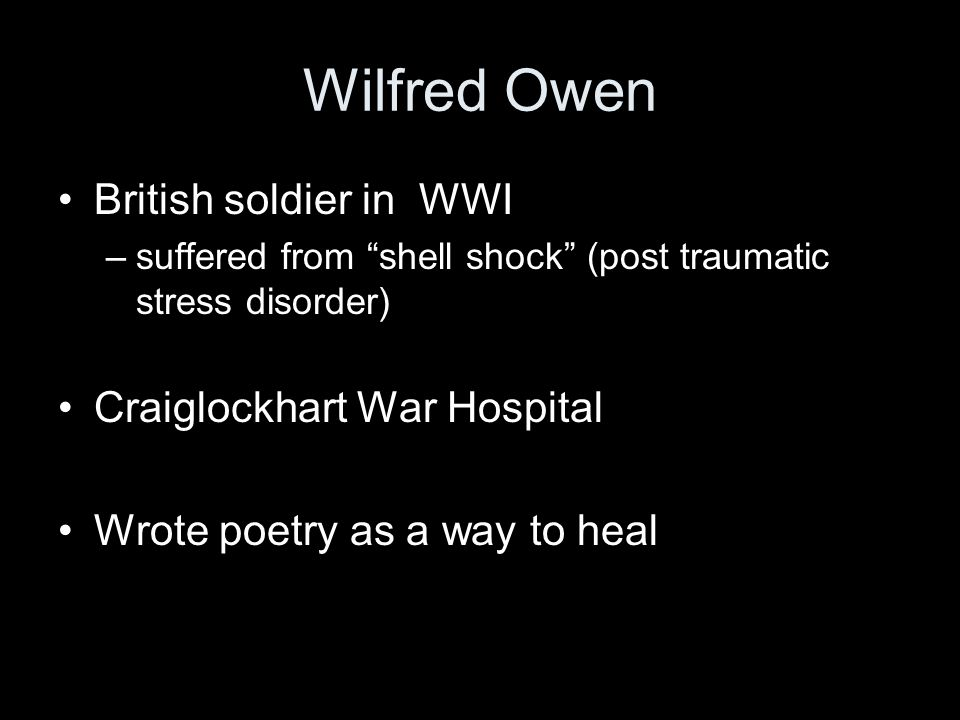 Wilfred Owen British soldier in WWI Craiglockhart War Hospital