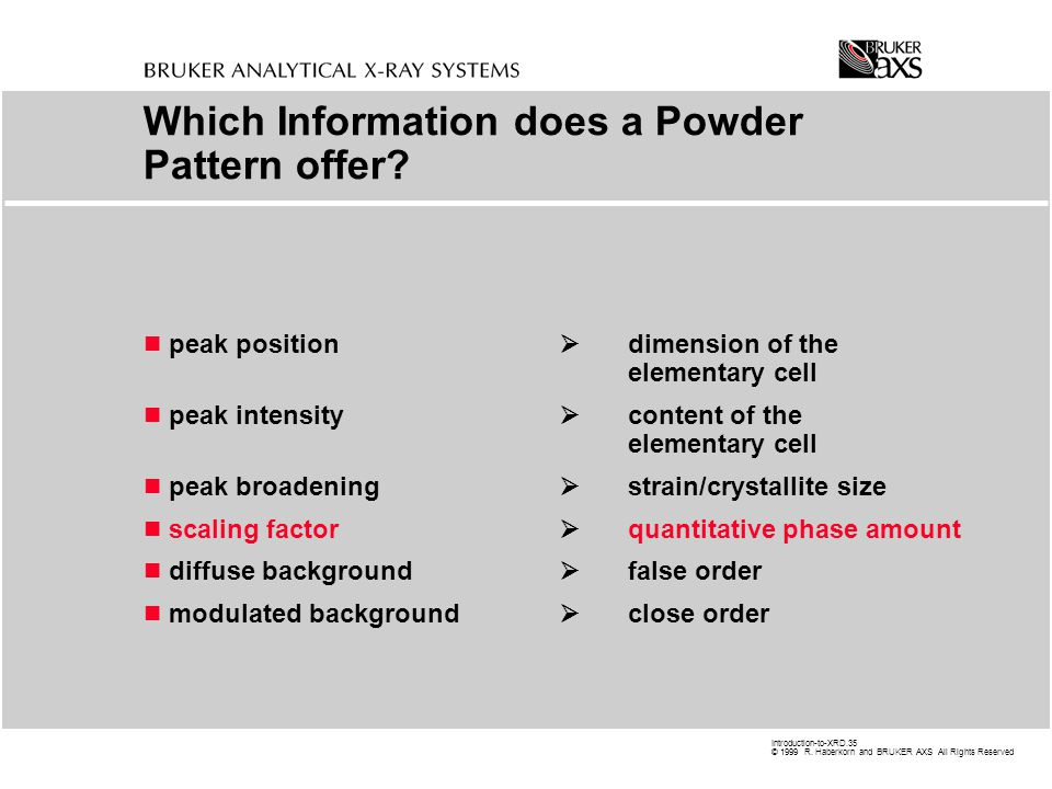 Which Information does a Powder Pattern offer