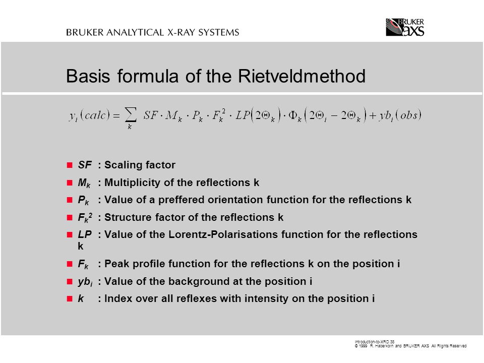 Basis formula of the Rietveldmethod