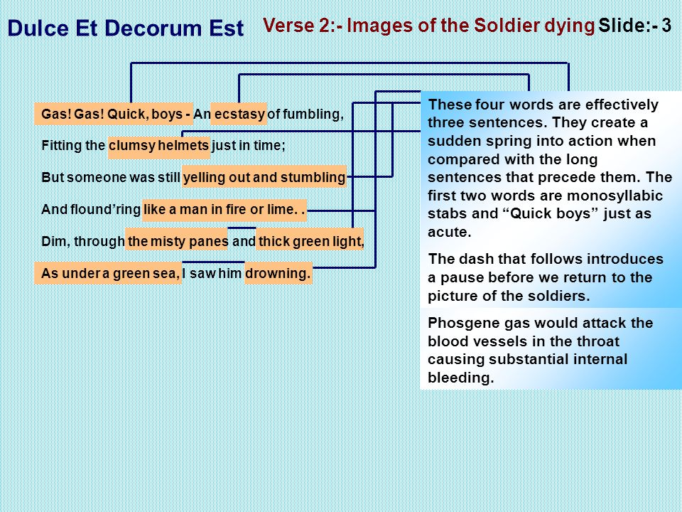 Verse 2:- Images of the Soldier dying