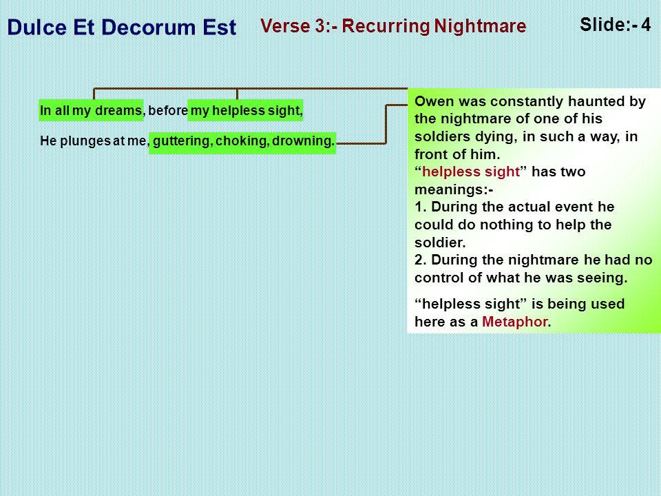Verse 3:- Recurring Nightmare