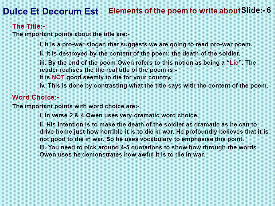 Elements of the poem to write about