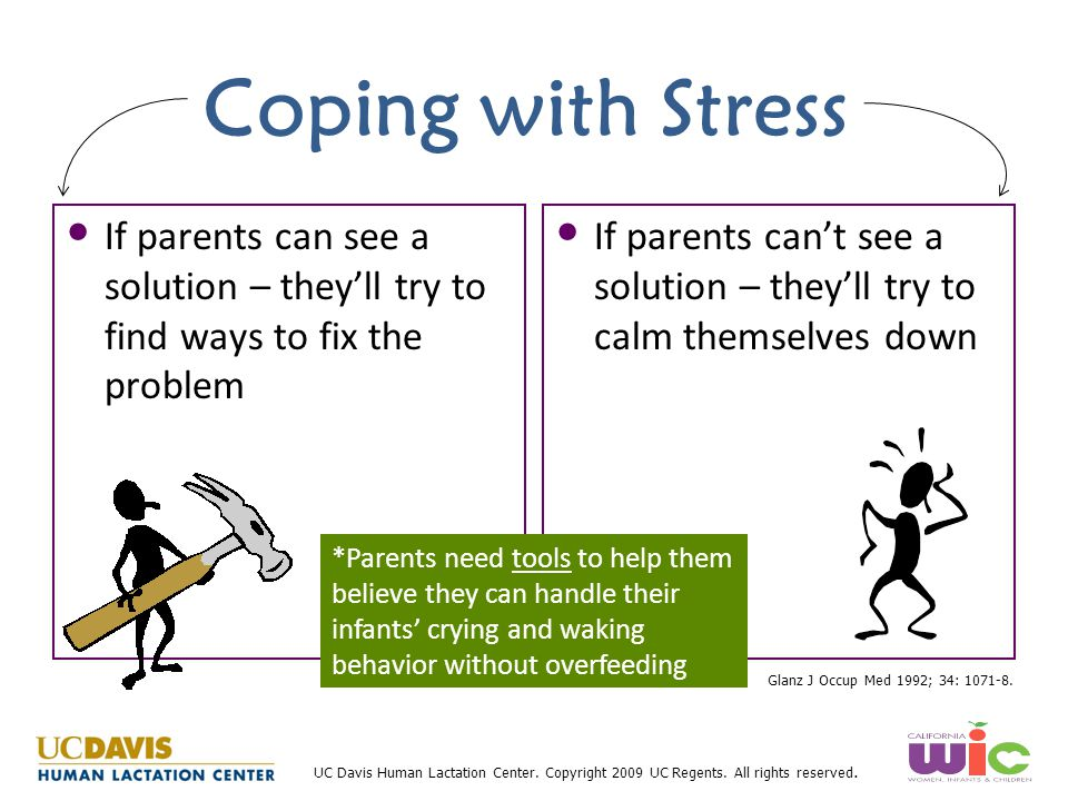 Coping with Stress If parents can see a solution – they'll try to find ways to fix the problem.