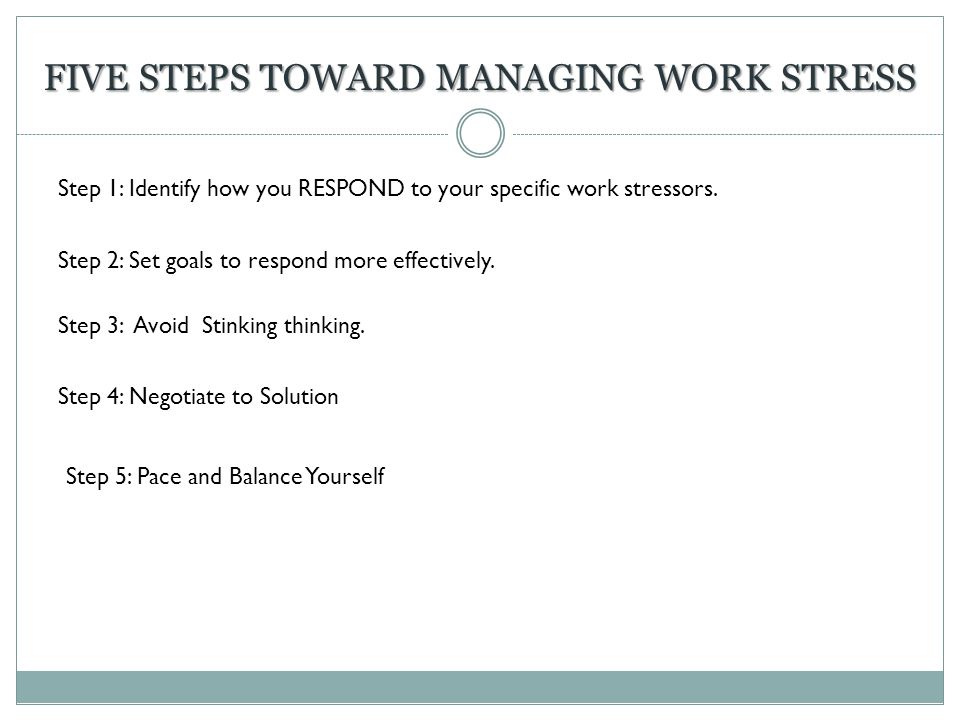 Five Steps toward managing work stress