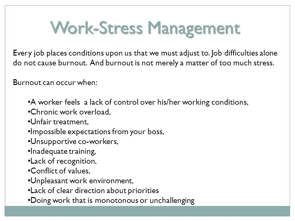 Work-Stress Management