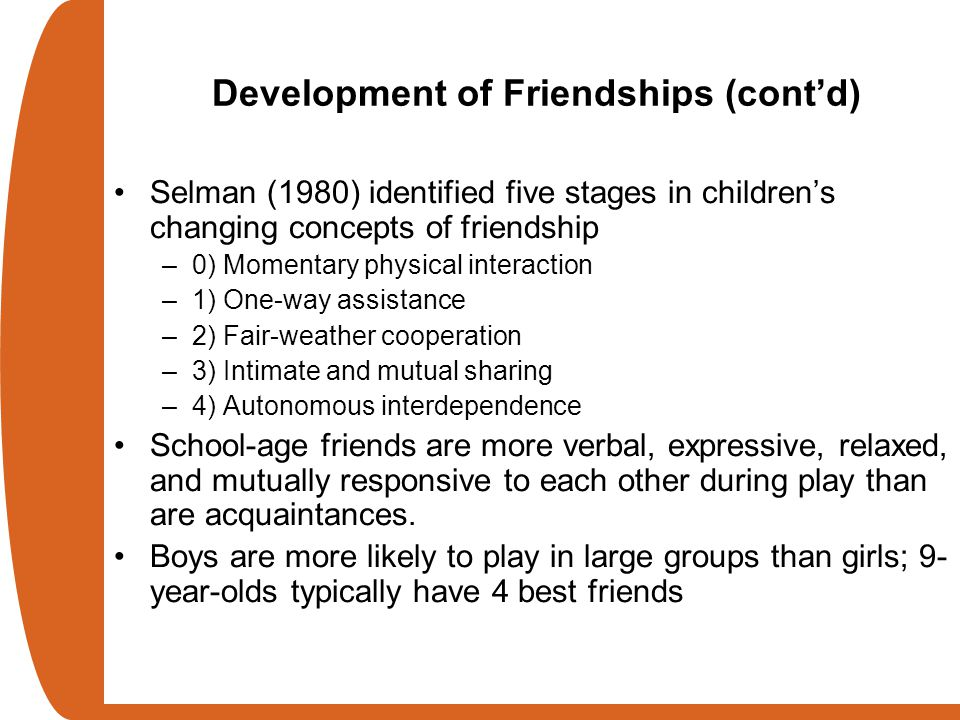 Development of Friendships (cont'd)