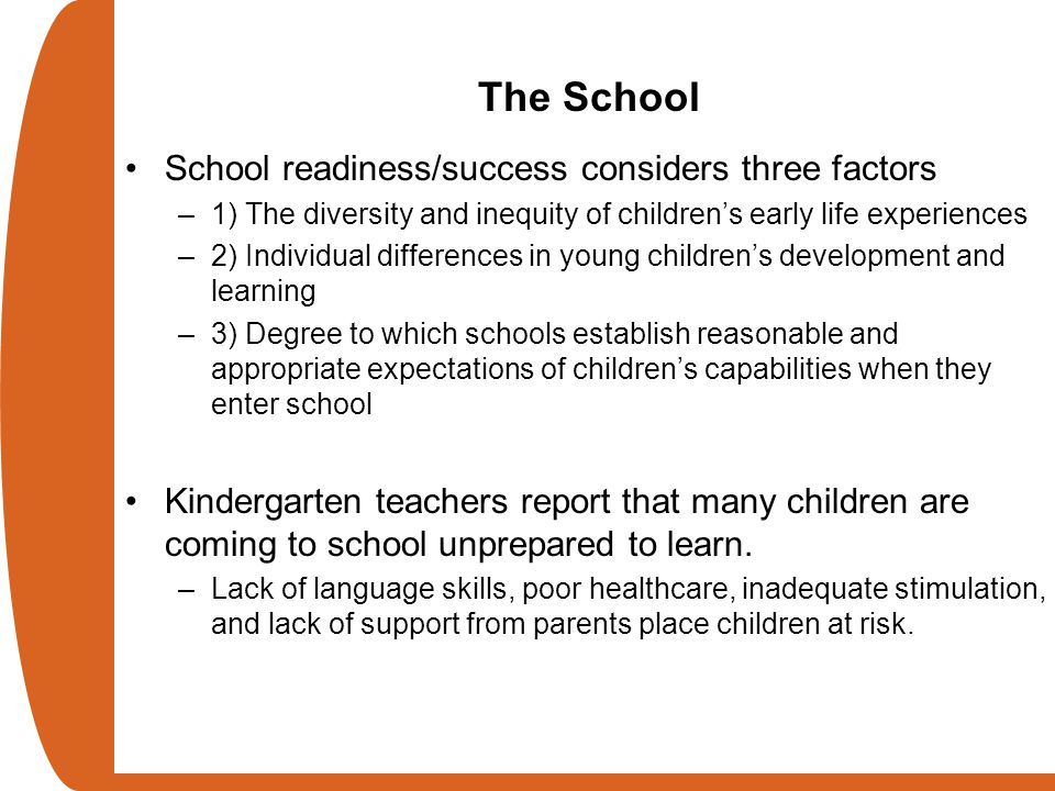 The School School readiness/success considers three factors