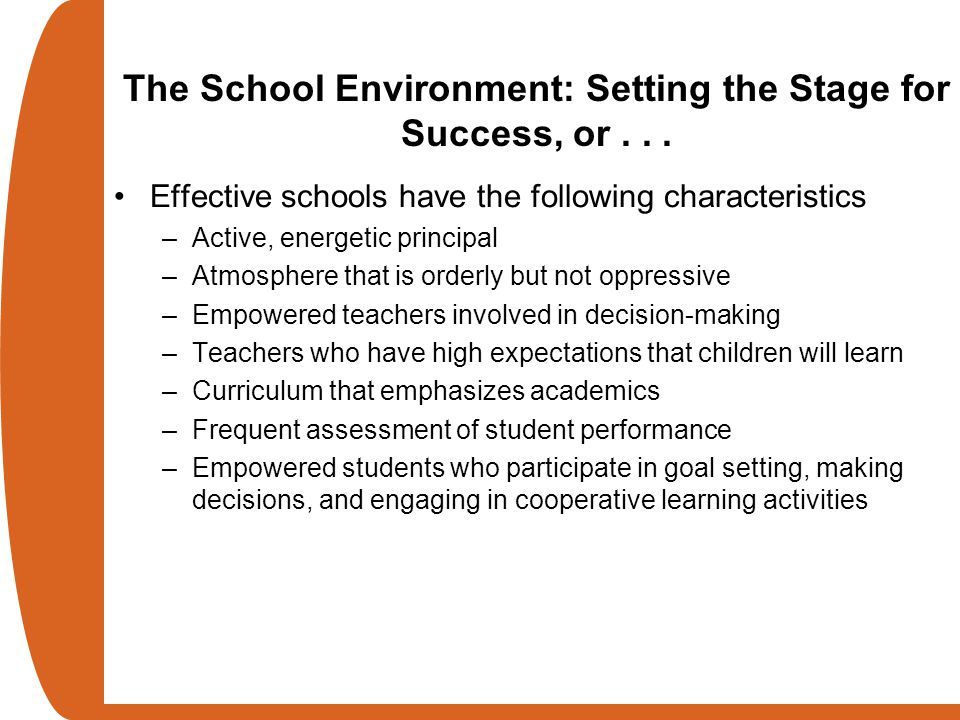 The School Environment: Setting the Stage for Success, or . . .