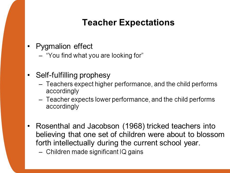 Teacher Expectations Pygmalion effect Self-fulfilling prophesy