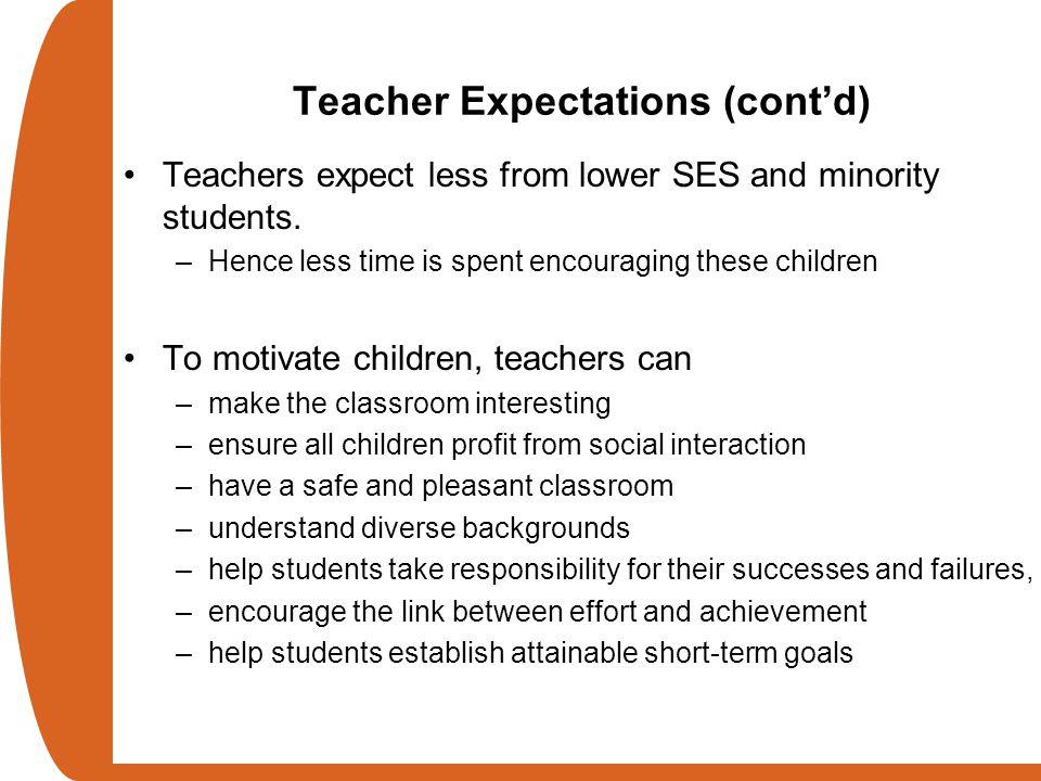 Teacher Expectations (cont'd)