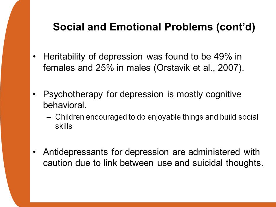 Social and Emotional Problems (cont'd)