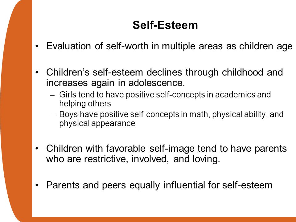 Self-Esteem Evaluation of self-worth in multiple areas as children age