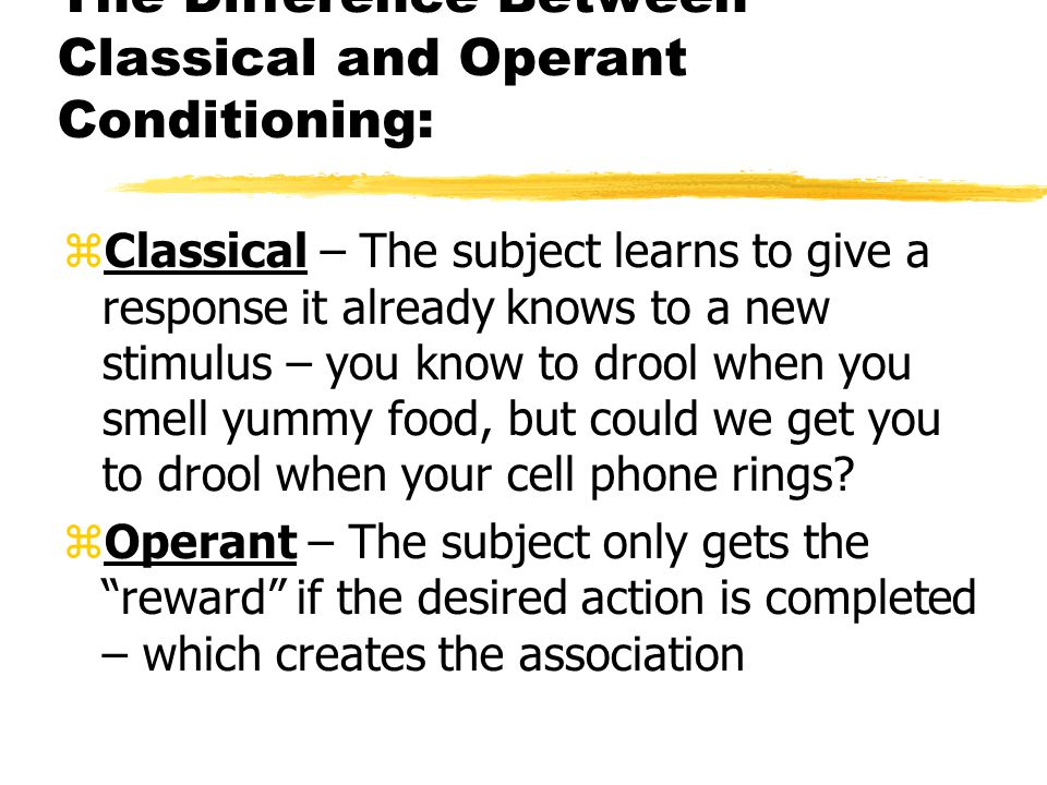 the differences between classical and operant conditioning as learning methods Classical conditioning is a basic learning process,  although differences exists between classical and operant conditioning, both forms of conditioning are capable of changing the behavior of humans and non-human animals in predictable ways  the role of cognition in classical and operant conditioning journal of clinical psychology, 60.