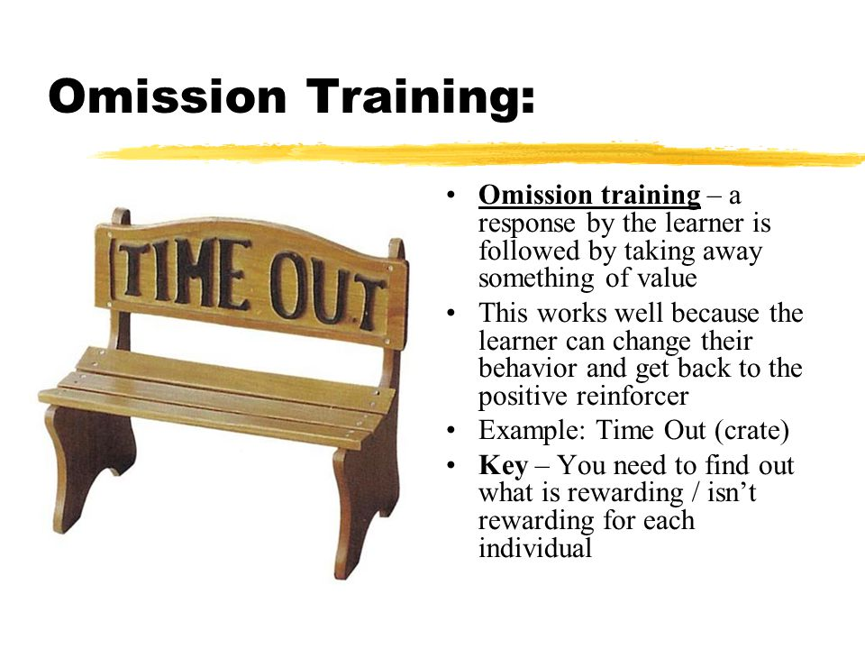 Omission Training: Omission training – a response by the learner is followed by taking away something of value.