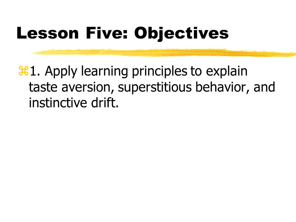 Lesson Five: Objectives