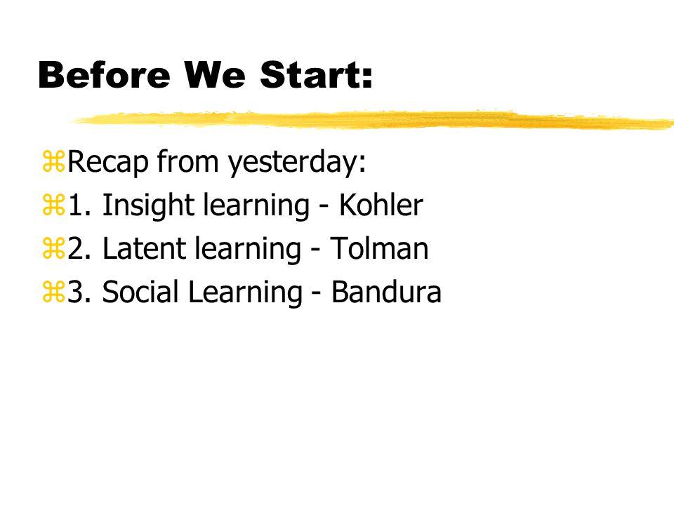 Before We Start: Recap from yesterday: 1. Insight learning - Kohler