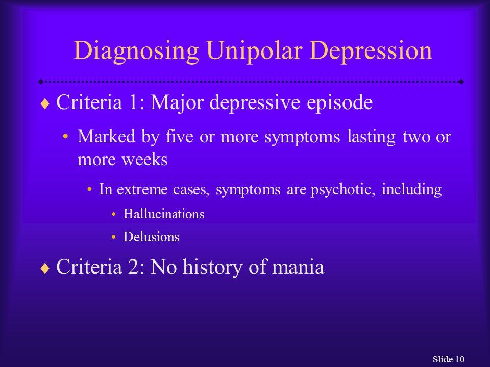 Diagnosing Unipolar Depression