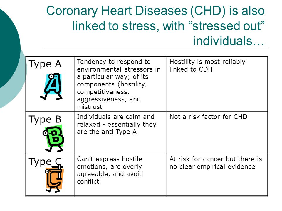 Coronary Heart Diseases (CHD) is also linked to stress, with stressed out individuals…