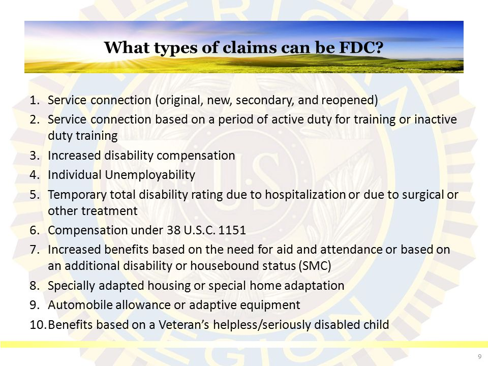 What types of claims can be FDC (cont.)