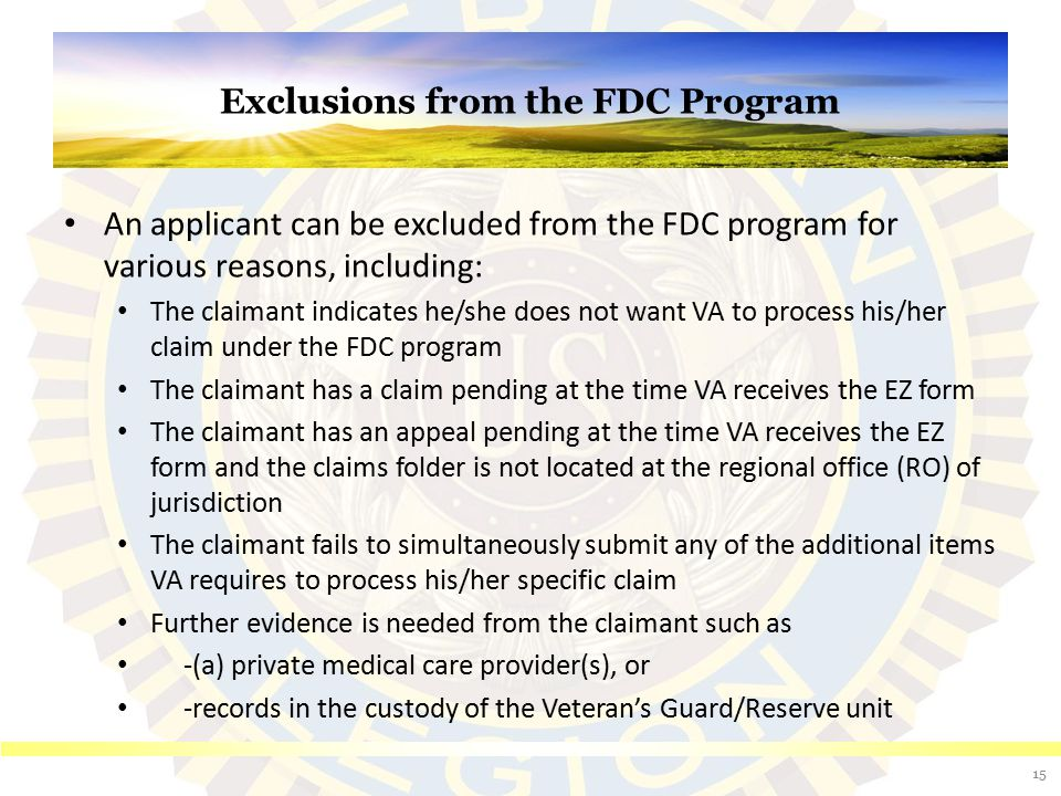Exclusions from the FDC Program