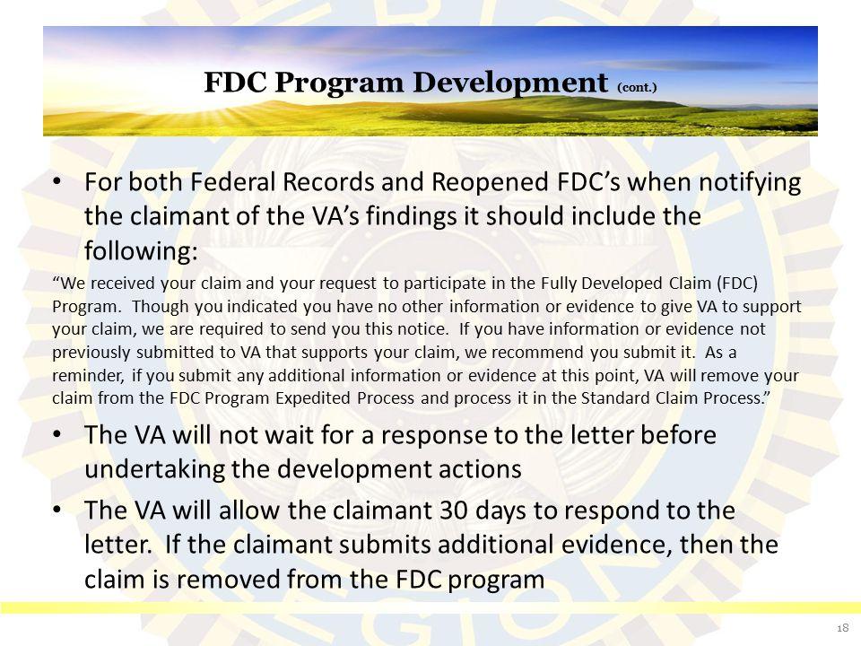 FDC Program Development (cont.)